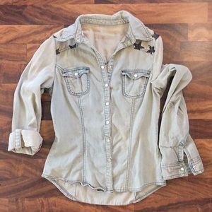 Tops - Denim button down with star print detail